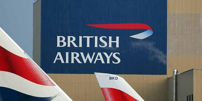 Foto de archivo del logo de British Airways y de la cola de varios de sus aviones en el aeropuerto de Heathrow en Londres, 23 de febrero de 2018. REUTERS/Hannah McKay