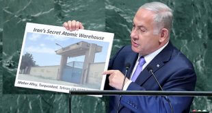 El primer ministro de Israel, Benjamín Netanyahu, mostró una imagen con el presunto almacén que escondería el material nuclear
