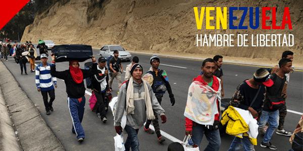 Emigrantes venezolanos caminan por las fronteras de Latinoamérica