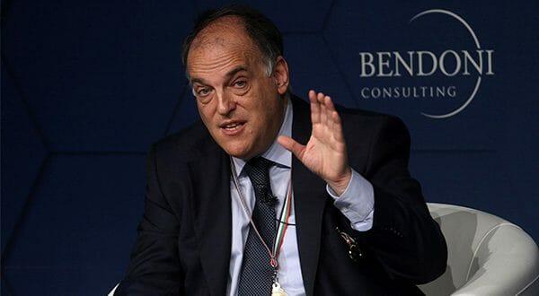 Asociación de Futbolistas Españoles en contra del Girona-Barcelona en Miami. En la imagen el presidente de la Liga, Javier Tebas Medrano/Reuters