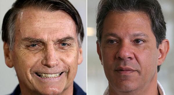 Una encuesta de Datafolha, la primera con miras a la segunda vuelta para presidenciales en Brasil, señaló que Jair Bolsonaro ganaría ampliamente a su rival Fernando Haddad, del Partido de los Trabajadores/Reuters
