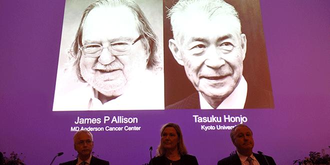 En la imagen, fotos de los ganadores del Premio Nobel de Medicina 2018, James P. Allison, y Tasuku Honjo, en el Instituto Karolinska de Estocolmo, Suecia, el 1 de octubre de 2018. TT News Agency/Fredrik Sandberg via REUTERS