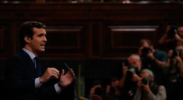 """Pablo Casado, presidente del PP, afirmó que Pedro Sánchez es cómplice del """"golpe de Estado"""" en Cataluña. /REUTERS"""