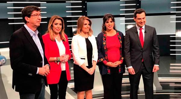 Los principales candidatos a la presidencia de Andalucía. Cortesía: RTVE