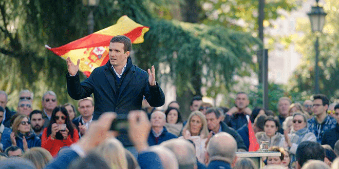 Pablo Casado en un mitín desde Granada, España. 24 de noviembre de 2018.