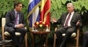 España y Cuba acordaron profundizar relaciones bilaterales, durante la reunión de los mandatarios Pedro Sánchez y Miguel Díaz-Canel/Reuters