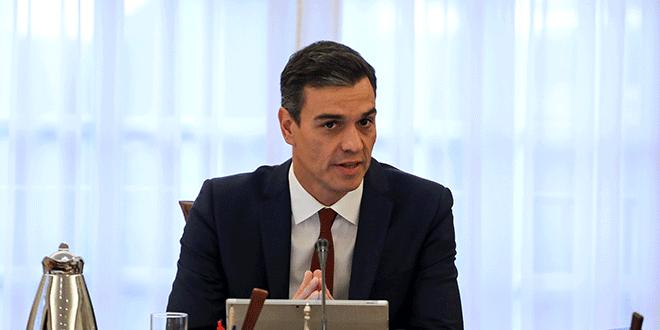 El presidente del Gobierno español, Pedro Sánchez, en una reunión del consejo de ministros en el Palacio de la Moncloa, Madrid. REUTERS/Sergio Perez