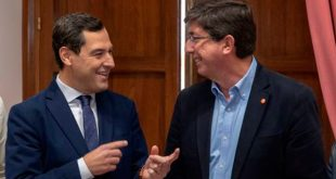Avanzan acuerdos para cambio de Gobierno en Andalucía. El PP presidirá la Junta y Ciudadanos encabezará el Parlamento. En la imagen Juanma Moreno (PP) y Juan Marín (Cs)/Cortesía