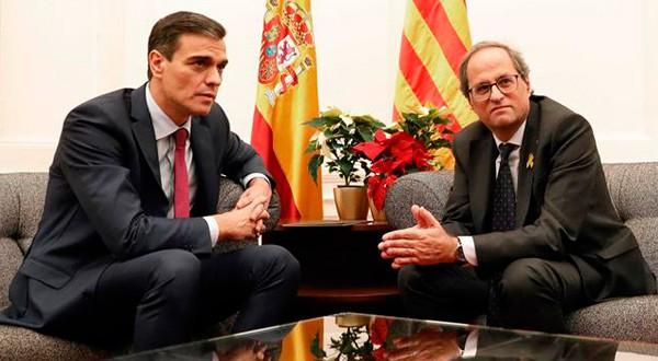 El jefe del Gobierno de España, Pedro Sánchez, y el presidente de la Generalitat sostuvieron un reunión en solitario/Reuters