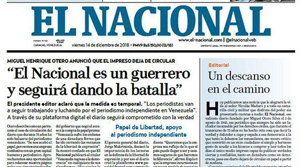 Nos vemos en la web, dice El Nacional