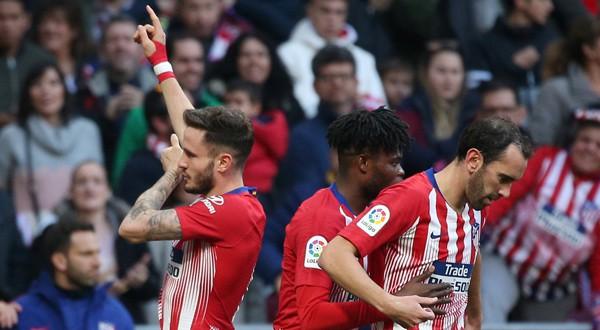 Saúl celebra su gol ante el Getafe