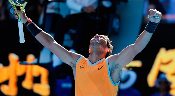 Imagen del tenista español Rafael Nadal tras ganar el partido ante el jugador de la República Checa Tomas Berdych. REUTERS/Adnan Abidi