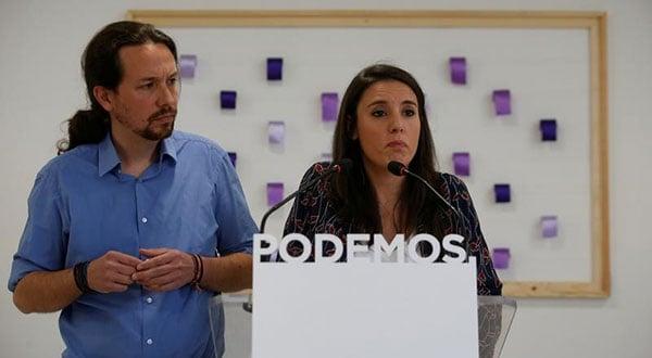Los íderes de Podemos Pablo Iglesias e Irene Montero en una comparecencia en Madrid, España, el 19 de mayo de 2018.