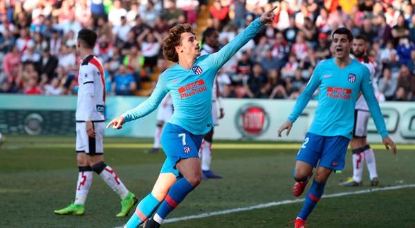 Antoine Griezmann celebra su gol ante el Rayo Vallecano.