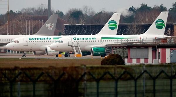 Aviones de la aerolínea alemana Germania en el aeropuerto Tegel de Berlín, Alemania, 5 de febrero de 2019.