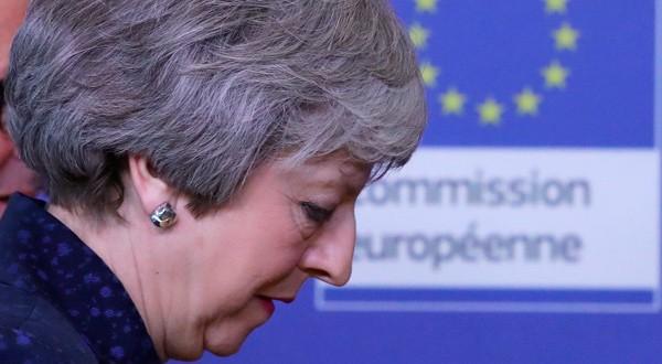 La primera ministra británica, Theresa May, en la sede de la Comisión Europea en Bruselas, Bélgica, el 7 de febrero de 2019.