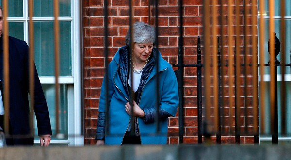 La primera ministra Theresa May en Downing Street, Londres.