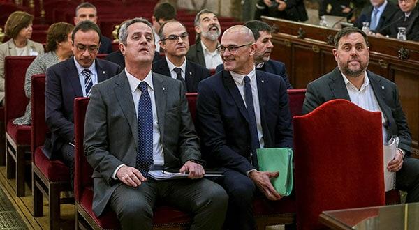 Los líderes separatistas catalanes en el juicio ante el Tribunal Supremo, en Madrid.