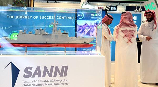 La exhibición de Saudi Arabian Military Industries (SAMI) durante la Conferencia y Exposición de Defensa Internacional (IDEX) en Abu Dabi, Emiratos Árabes Unidos.