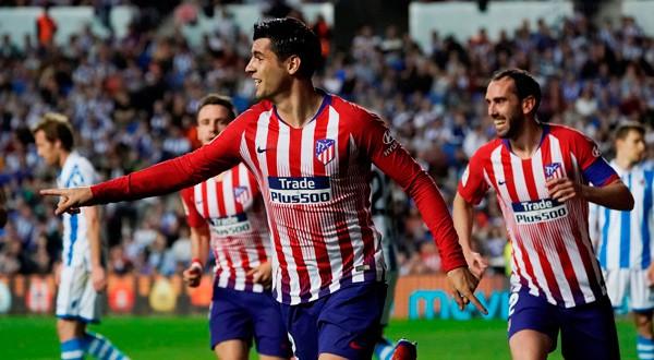 Álvaro Morata celebra su segundo gol en Anoeta.