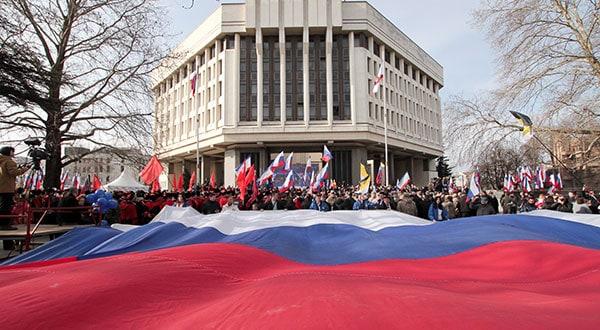 Participantes en las celebraciones del quinto aniversario de la anexión de Crimea.