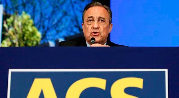 El presidente de la constructora, Florentino Perez, durante una junta de accionistas.