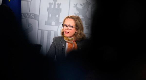 La ministra de Economía, Nadia Calviño, después de una rueda de prensa del Consejo de Ministros.