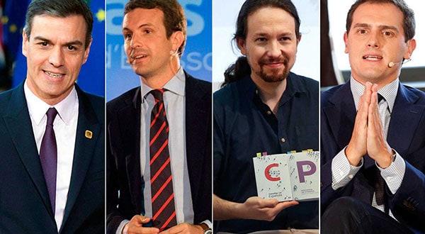 Candidatos presidenciales de España debaten es televisión