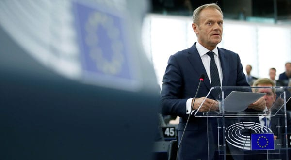 Donald Tusk, presidente del Consejo Europeo, durante un debate sobre el Brexit
