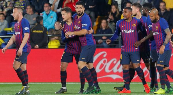 El Barcelona celebra su primer tanto en el encuentro (02 de abril de 2019)