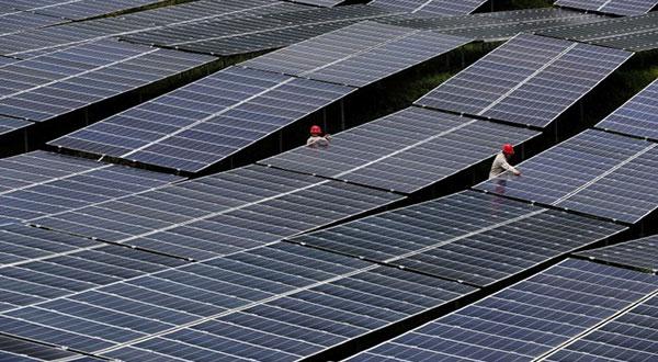Ejemplo de paneles solares desplazados en Chongqing, China.