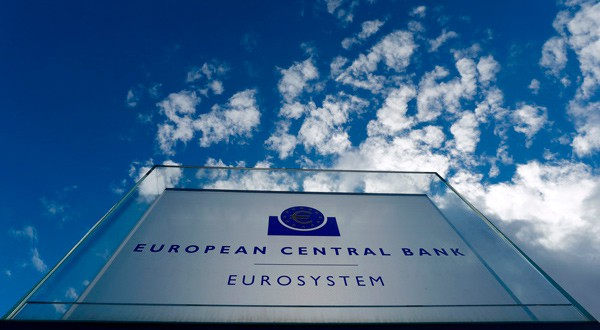 El sello del Banco Central Europeo en su sede de Fráncfort, Alemania.