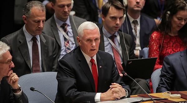 Vicepresidente de Estados Unidos, Mike Pence durante la Conferencia de las Américas