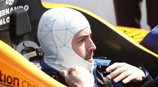 Fernando Alonso durante las prácticas de la Indy 500