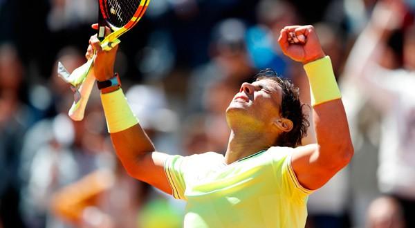 El tenista español Rafael Nadal tras ganar la semifinal en Roland Garros.