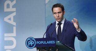 """Su secretario general, Teodoro García Egea, declaró este lunes que con miras a la investudura de Presidencia de España, el PP """"no es un partido bisagra"""" y que """"es el líder de la oposición la alternativa al Gobierno""""."""