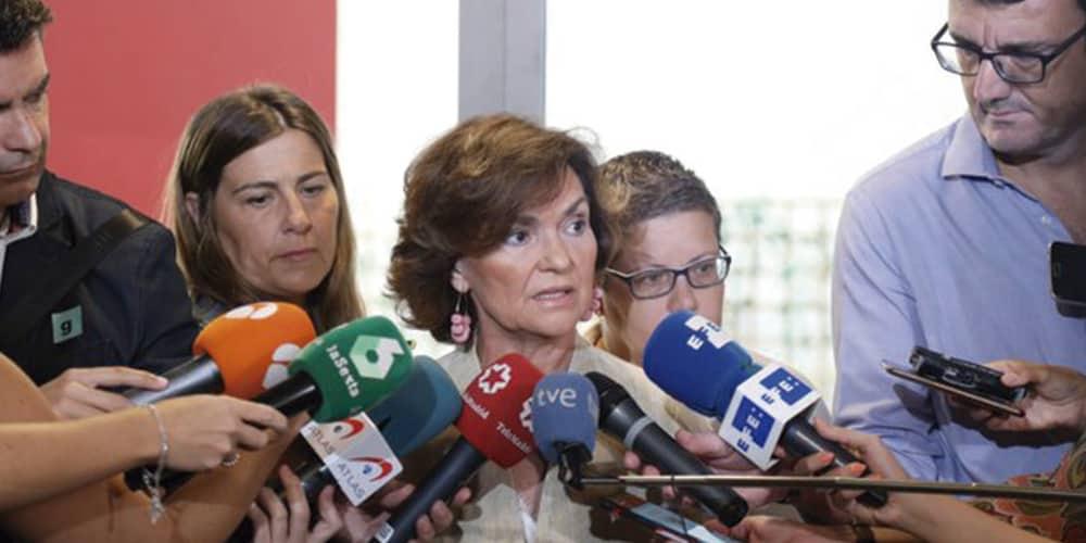 Carmen Calvo: programa de gobierno de Sánchez incluirá propuestas de Podemos