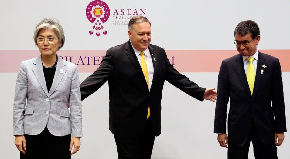 Mike Pompeo intentará mediar entre los representantes de Japón y Corea del Sur en Bangkok.
