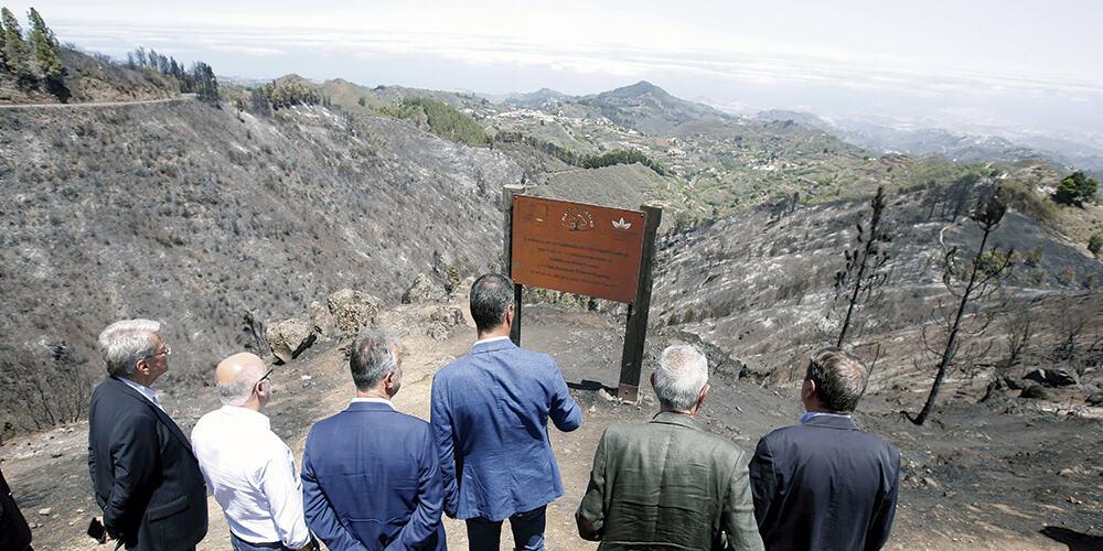 El presidente en funciones de España, Pedro Sánchez, y su comitiva observando los daños del incendio en Gran Canaria