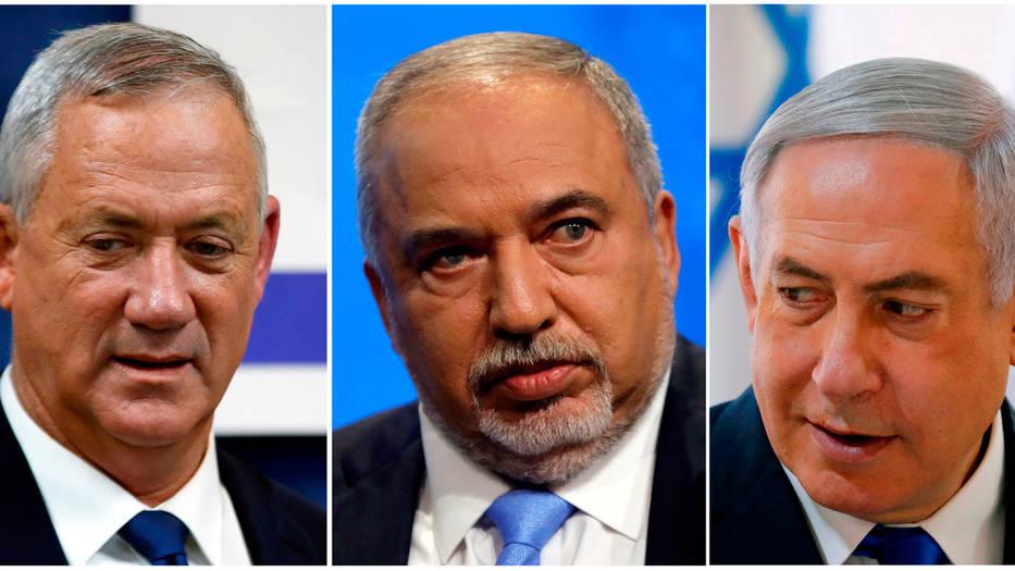 Gantz, Lieberman y Netanyahu (de izquierda a derecha) se pelean por la mayoría parlamentaria para gobernar en Israel.