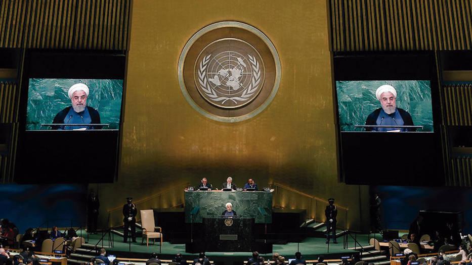 El presidente de Irán, Hasan Rohani, hablando en la ONU/Archivo