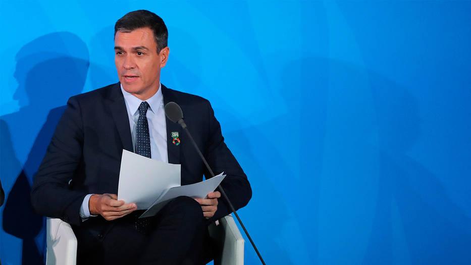 Pedro Sánchez, presidente en funciones de España, en la cumbre climática en Nueva York
