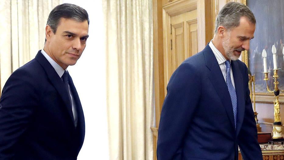 Presidente en funciones, Pedro Sánchez, y el Rey Felipe VI.