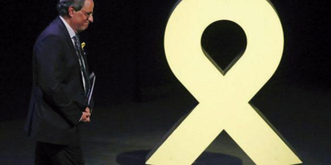 TSJC ordena a Torra quitar pancarta independentista de la fachada de la Generalitat