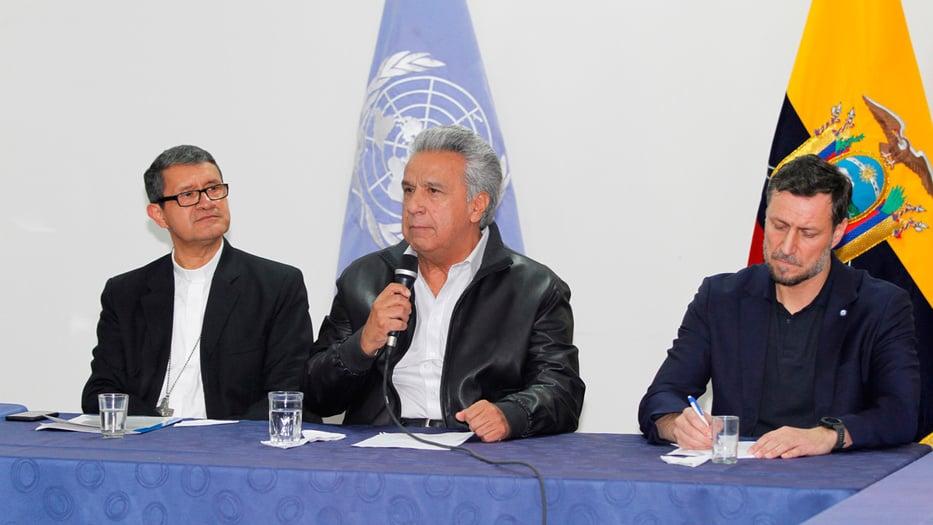 El presidente Lenín Moreno hizo un llamado a la paz luego de los primeros acuerdos para el diálogo.