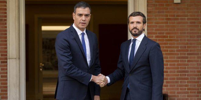 Sánchez expresó a Casado que de ser necesario actuará en Cataluña