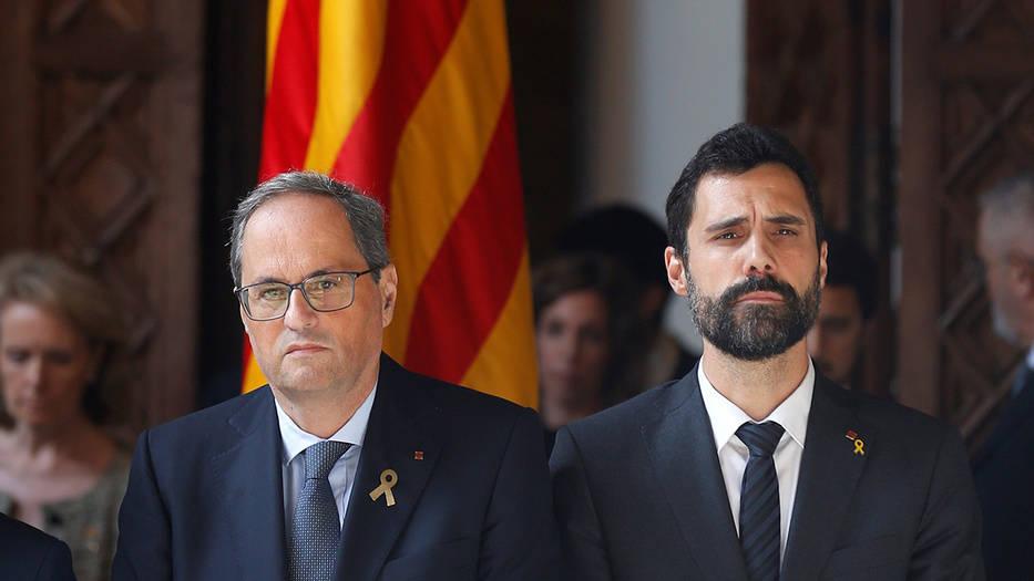 Quim Torra, presidente de la Generalitat, y Roger Torrent, presidente del Parlament