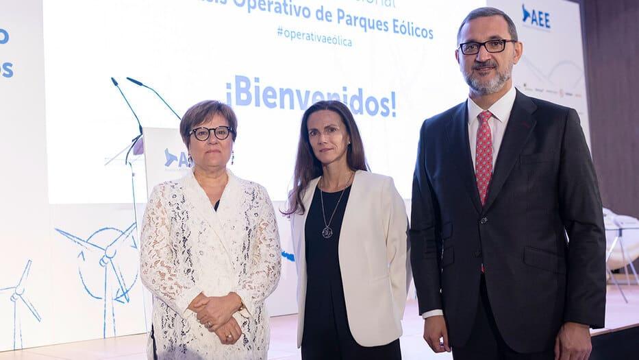 Ángeles Heras Caballero, secretaria de Estado de Universidades, Investigación, Desarrollo e Innovación; Rocío Sicre, presidenta de AEE, y Juan Virgilio Márquez, director general de AEE.