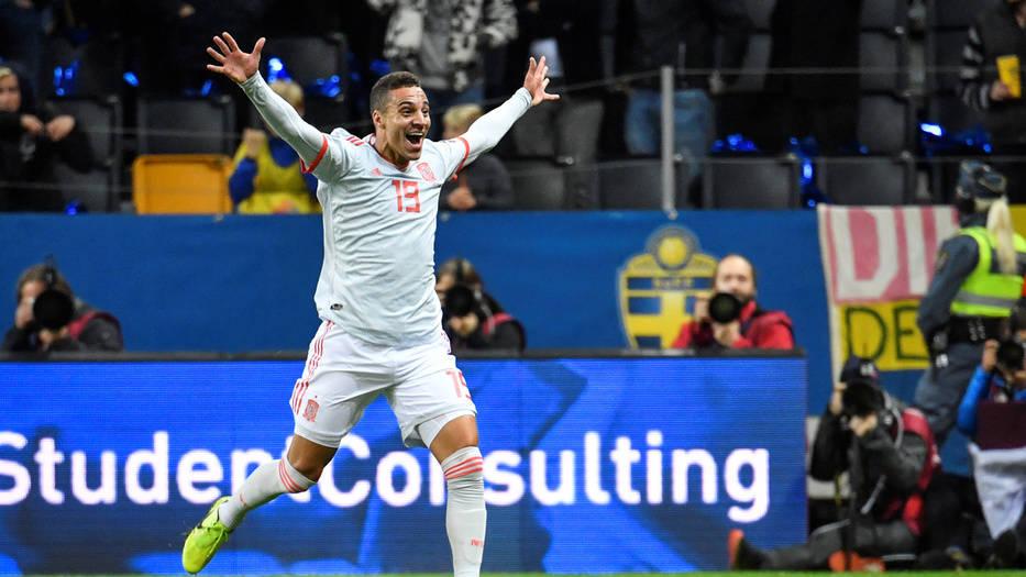 Rodrigo celebra el gol que le dio la clasificación a España a la Euro 2020