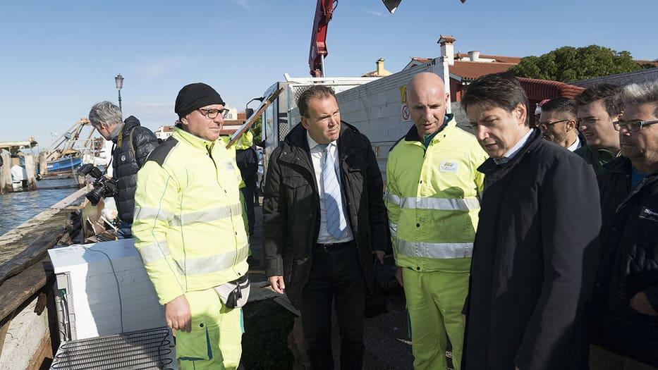 Desde el mismo miércoles el presidente del Consejo de Ministros de Italia, Giuseppe Conte, se apersonó en Venecia y anuncio que el gobierno aprobará ayudas para los afectados por las inundaciones/governo.it